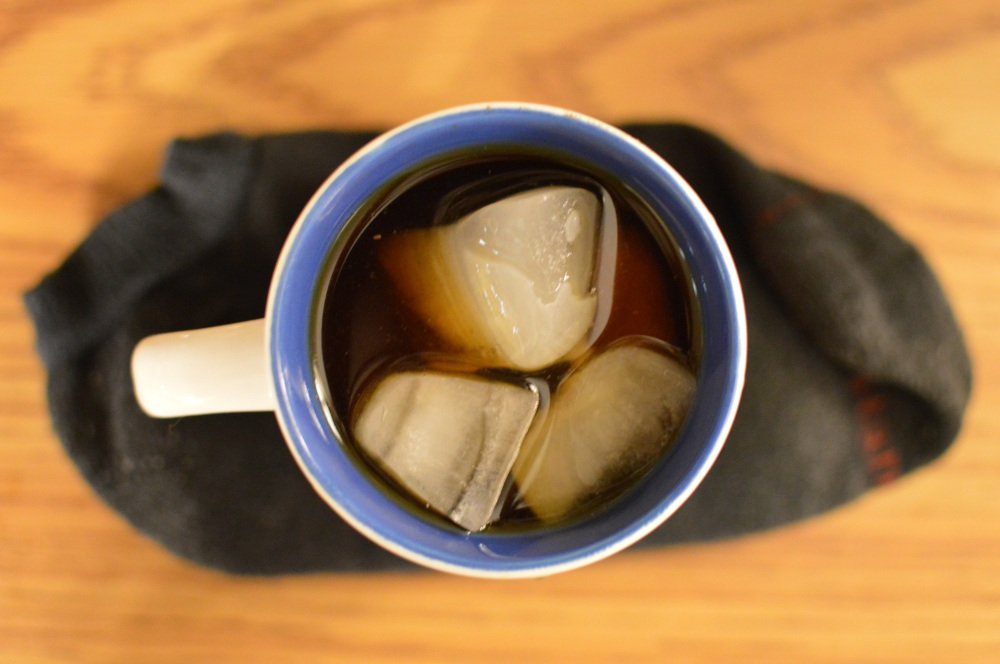 cold brew coffee with a sock